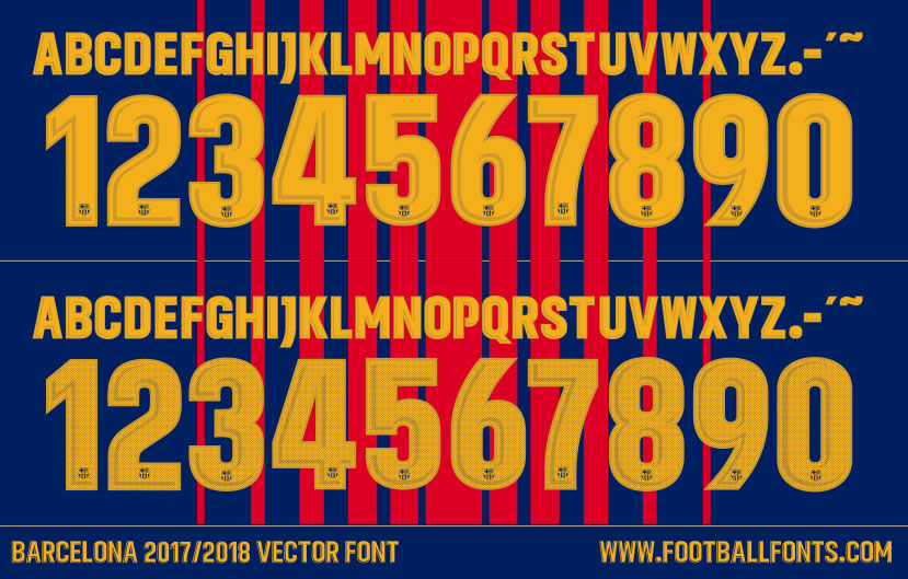 barcelona 2017 2018 font vector only football fonts