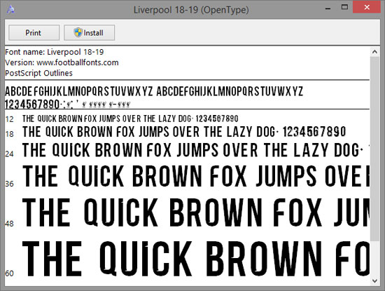 Liverpool 2018-2019 Font (TTF) | Football Fonts