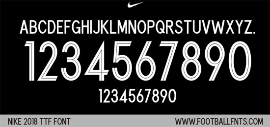 Nike 2018 Universal Font for World Cup 2018 (TTF) | Football Fonts